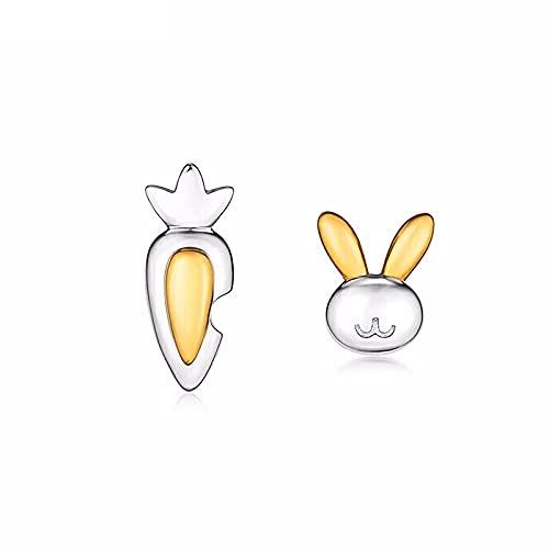 KINGVON KINGVON Bonitos pendientes de platino de conejo de rábano con estilo Animal Oreja de platino Pendientes bohemios vintage para mujer Regalo de joyería, Oro