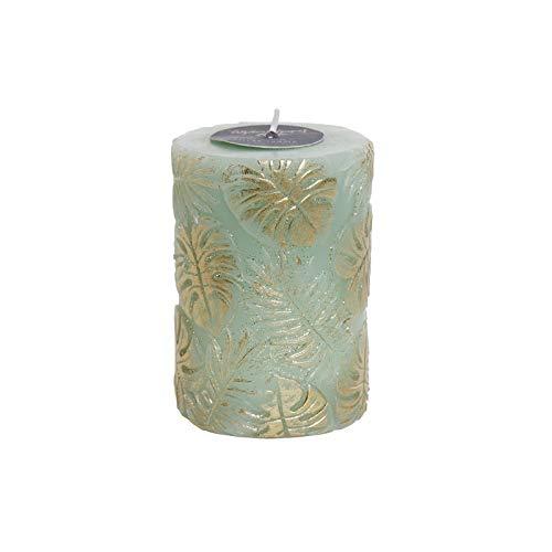 Wax kaars groen met glitter. Design gouden bladeren, ideaal om te versieren 7 x 7 x 10 cm