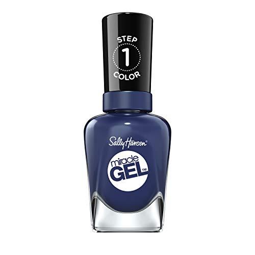 Sally Hansen Miracle Gel Nagellack ohne künstliches UV-Licht Midnight Mod, indigoblau, mit intensiv glänzendem Gel-Finish, Nr. 445, (1 x 14,7 ml)