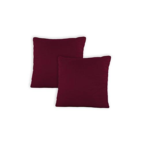 SHC Textilien Pacco Doppio Copricuscini Copricuscino Federe con Chiusura a Zip in 100% Cotone – 15 Colori e 5 grandezze 40x40 cm Bordeaux/Rosso Vino