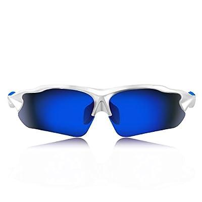 Hulislem Blade ? Sport Polarized Sunglasses(White-Blue) Sunglasses For Men Women Mens Womens Sports