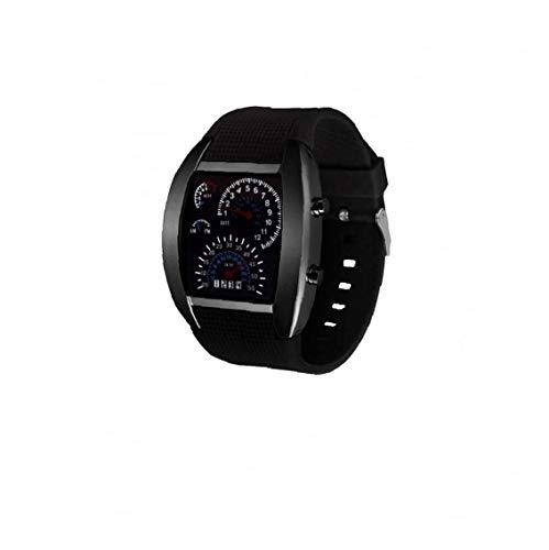 NaisiCore Unisex Multi usos del Tablero de Instrumentos Reloj Deportivo Aire Reloj electrónico Digital con Cuero Brazalete del Estilo Simple