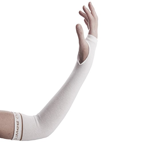 DJMed Arm Skin Protectors – Protective Arm Sleeves, For Sensitive Skin, Help Protect From Tears & Bruising – Pair, White (Medium)