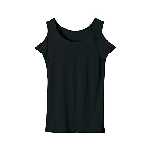 [セシール]インナーシャツ前汗キャッチャースマートドライ汗取りパッド付きノースリーブUE-572レディースブラック日本S(日本サイズS相当)
