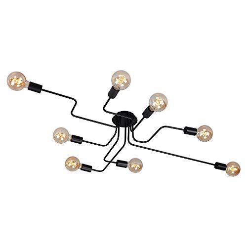 Briloner Leuchten - Deckenleuchte 8-flammig, Deckenlampe, retro, vintage, 8x E27 - max. 60 Watt, Metall, Schwarz, 1315x705x190mm (LxBxH)
