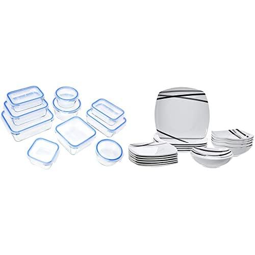 AmazonBasics - Recipientes de cristal para alimentos, con cierre 20 piezas (10 envases + 10 tapas), sin BPA + Vajilla de 18 piezas, Líneas modernas, 6 servicios