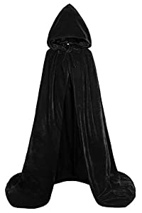 ALIZIWAY Hooded Cape Reversible Velvet Cloak Lined with Satin Renaissance Medieval Halloween Christmas Cosplay Costume