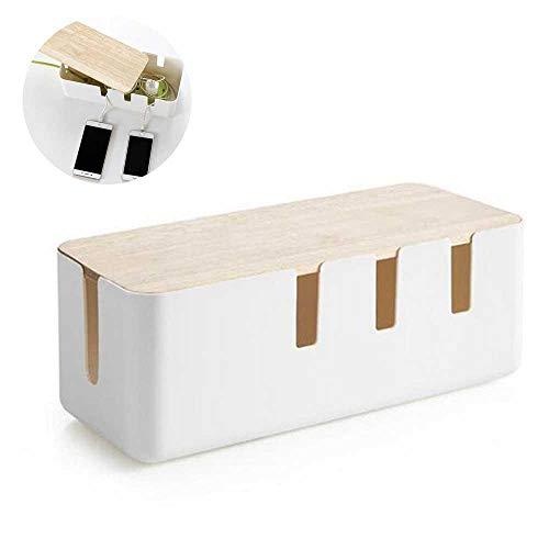 Volwco Caja Organizadora Cables Grande y Blanca, Caja para Cables, Organizador para Cables, Caja para Esconder Cables con la Mejor Calidad y Durabilidad, Caja de Almacenamiento de Alambre