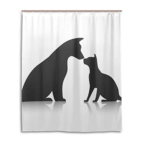 JSTEL Decor Friends Pet Icons Rideau de Douche 100% Polyester Motif Chien 152 x 183 cm