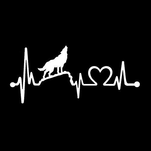 WYZJ-Pegatinas de moda Etiqueta engomada del coche Diversión Lobo Wolf HeartBeat Lifeline PVC Negro/Plata Pegatina de coche 15.2cm x 6,8cm (Color Name : Silver)
