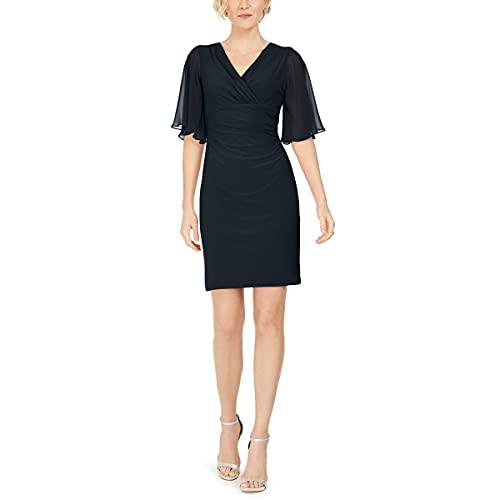 MSK Womens Chiffon Embellished Party Dress Navy M