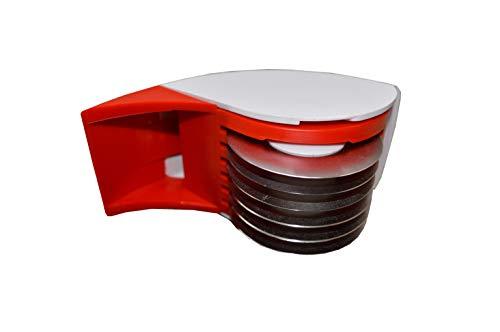 HWL Kräuterroller Schneidrolle Gemüseschneider aus rostfreiem Edelstahl und Kunststoffgehäuse rot-weiß neu