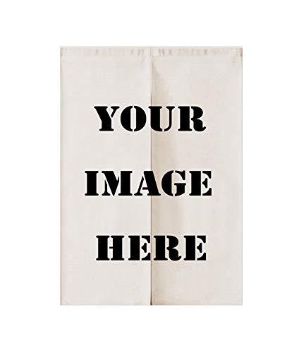 Liveinu Personalizado Lino Cortinas para Puerta Japonesa Noren Cortina con Barra De Tensión Hecho A Mano Cortina de Entrada Tapiz para Decoración,Dividir La Habitación 85x120cm