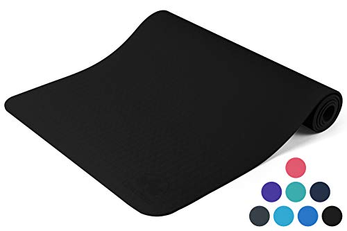 """Clever Yoga Mat BetterGrip Eco-Friendly with The Best Non-Slip and Durable TPE 6mm or 1/4 inch Thick – Comes with Our Special """"Namaste"""" (Black)"""