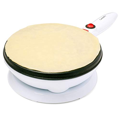 """Cordless Crepe Maker with Recipe Guide, Makes Large 7.5"""" Wide Crepes, Non-Stick Dipping Plate plus Electric Base and Spatula, Fun Mother's Day Gift"""