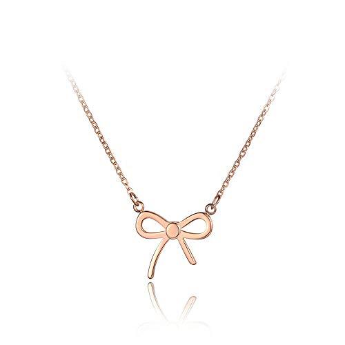 yrfchgj Collar Moda Bowknot Crystal Collares Pendientes para Niña Oro Rosa Titanio Acero Inoxidable Charm Collar Joyería