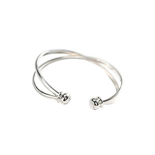 SLUYNZ 925 Sterling Silver Open Bangle Bracelet for Women Fine Jewelry Wedding Engagement Cuff Bracelet (Silver)