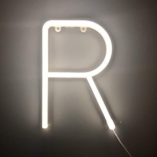 Smiling Faces Letrero luminoso de neón LED Letras blancas - Colgante de pared alimentado por batería - Letra R