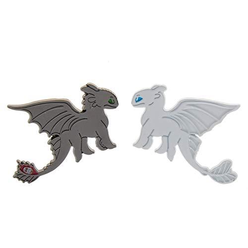 CoolChange Drachenzähmen leicht gemacht Anstecker Set   Pins von Ohnezahn & Tagschatten