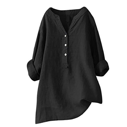 Camisetas Mujer Tallas Grandes Heavy SHOBDW Camisa De Manga Larga con Cuello Alto Blusa Casual Botones con Botones Túnica Suelta Camiseta Solid para Mujer(Negro,L)