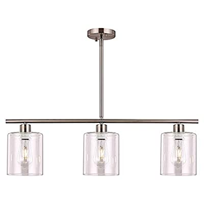XILICON Pendant Chandelier Light Fixture Hanging Dining Room Lighting Brushed Nickel 3 Light Modern Kitchen Island with Glass Shade for Bar Foyer Living Bedroom