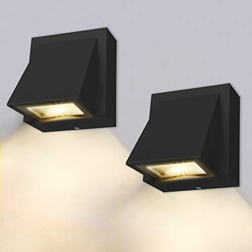 Wandleuchte - 2 Stücke, 8W - LED Wandlampe Innen/Außen, Wandlampe warmweiß 3000K Außenwandleuchte IP65 für Schlafzimmer, Wohnzimmer, Badezimmer, Schwarz[Energieklasse A+]