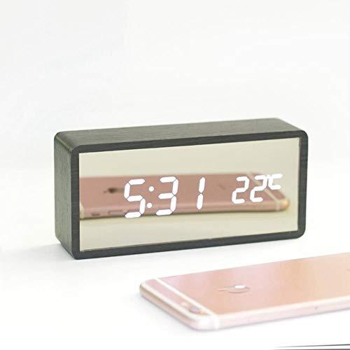 Rainandsnow Reloj Despertador de Madera LED, Reloj de Mesa con Espejo, Reloj Digital con Control de Voz, Despertador de Madera, batería electrónica, Relojes Digitales,02