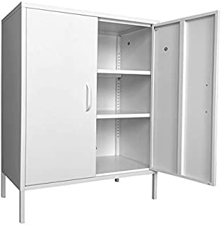 Assemble Household Steel Sideboard and Dining Room Cupboard Metal Bedroom Storage Cabinet Large Space Garage Organizer 3-Layers Living Room Cabinet Can be Used to Store Books Clothes Cutlery Tools