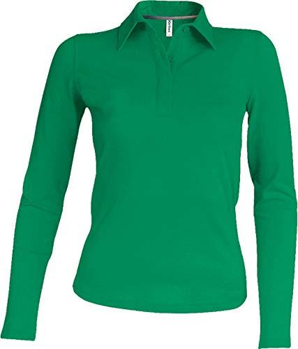 Kariban Damen Piqué Poloshirt Langarm - Kelly Green, L, Damen