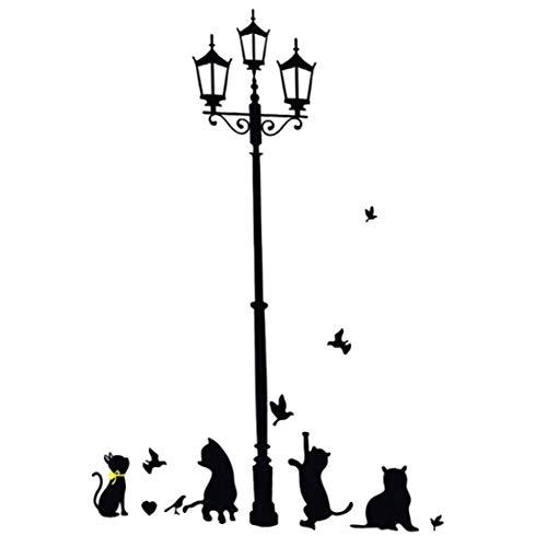 dyudyrujdtry vele soorten Nieuwigheid Katten Vogels En Straat Licht Lamp Verwijderbare Muurstickers Home Decor Kwekerij Decal Voor Kinderen Kamer Decal