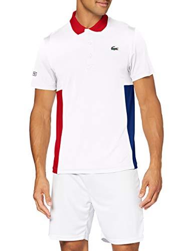 Lacoste DH2053 Camisa de Polo, Blanco/Rojo cósmica-Negro, M para Hombre