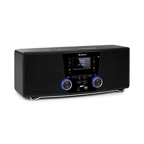 auna Stockton - Equipo de música estéreo, Potencia de 20 W, Radio Dab+/UKW, Función RDS, Reproductor de CD, Bluetooth, Puerto USB, Entrada AUX, Pantalla OLED, EQ, Programable, Despertador, Antracita