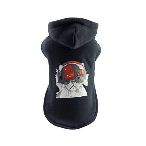 Amphia - Hund, Baumwolljacke, Marine - Haustier-warme Kleidung-Welpen-Cooler Hundemuster-Kapuzenpulli Herbst und Winter(Marine,XS)