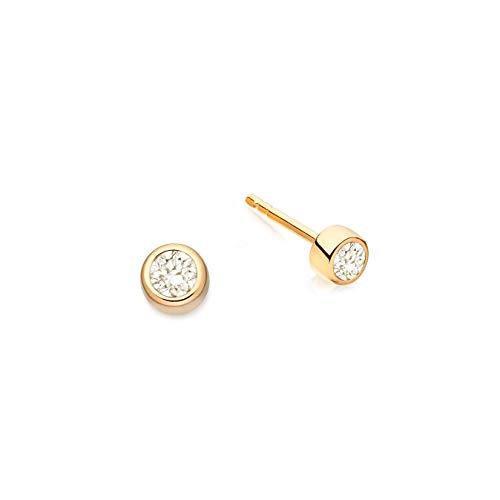 Brandlinger ® Atelier Ohrstecker Rund mit Zirkonia Stein aus vergoldetem 925 Sterling Silber. Ohrringe Gold mit Durchmesser 5,5 mm
