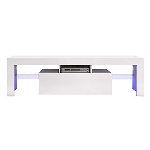 Deuxff - Mueble de TV LED con soporte para TV, color blanco