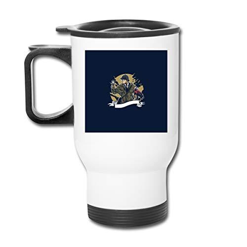 Sherlock Holmes Lupa de loro 16 oz Vaso de acero inoxidable de doble pared taza de café al vacío con tapa a prueba de salpicaduras para bebidas calientes y frías