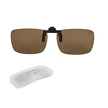 Yodo Upgraded Polarized Flip up Clip on Sunglasses Over Prescription Glasses for Men Women Driving Fishing Outdoor Sport,Brown