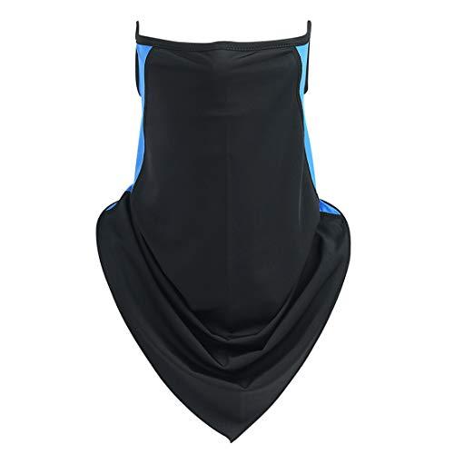 Panegy Cache Cou Cyclisme Homme Femme Respirant Foulard Tube Moto Écharpe Bandana Multifonction Bandeau Headwear Soie Glace Extensible Anti UV Poussière pour Vélo Running Randonnée Sport Bicolore Bleu