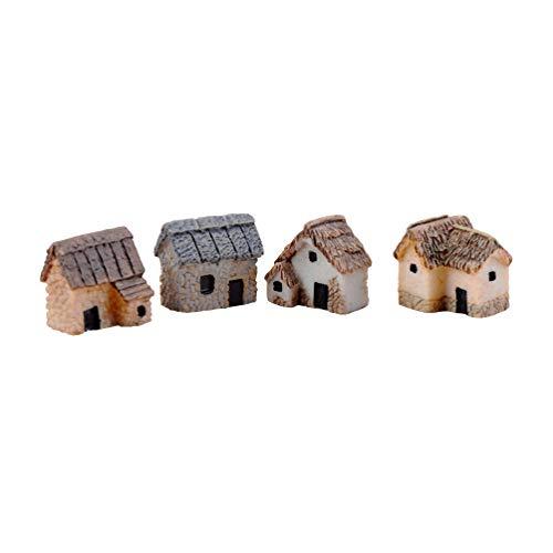 CLISPEED 4 pcs Miniature Houses Artificial Desk Ornaments Gardening Landscape Micro Village for Terrarium Bonsai Crafts