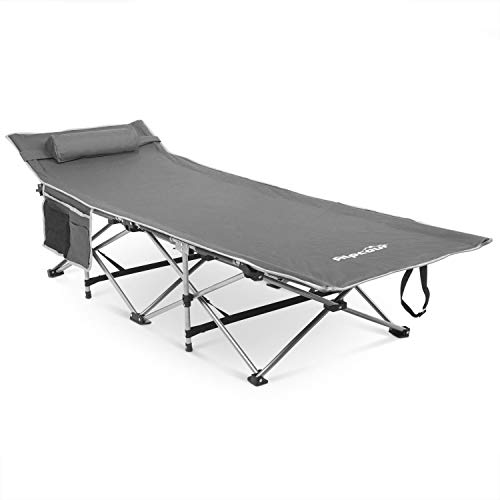 Portable Folding Camping Sleeping Cot w/ Pillow & Side Pocket Collapsible Travel