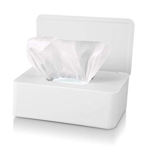 Tusenpy Aufbewahrungsbox für Feuchttücher mit Deckel,Staubdicht Taschentuchbox Feuchttücher Spender,Servietten Aufbewahrungskoffer,Taschentuchhalter für Zuhause Büro Auto (Weiß)