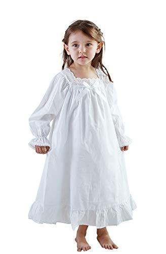 iMOONZZZ Nachthemden für Mädchen, Langarm-Nachthemden aus weicher Baumwolle für Mädchen von 3-12 Jahren (Langarm Weiß, 8-9 Jahre)