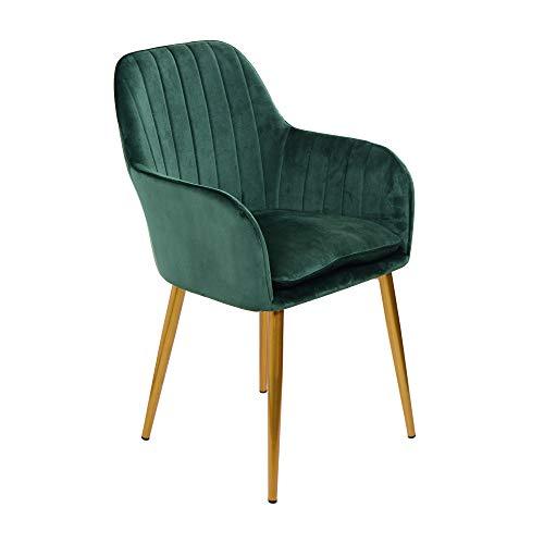 CRIBEL Odette - Juego de 2 sillas tapizadas de Terciopelo, Color Verde