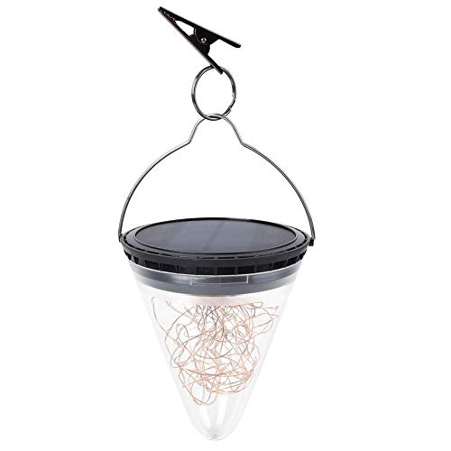 Fdit Lámpara de Forma de Cono Colgante Solar a Prueba de Agua Lámpara LED Lámpara de linternas Colgantes de Cono Lámpara para jardín al Aire Libre Lámpara Patio Patio Camino Césped