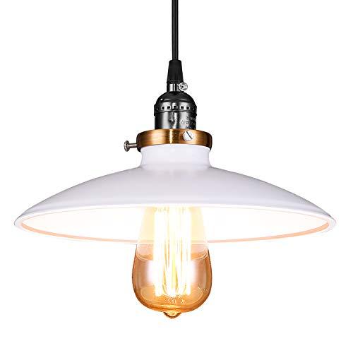 Lightess Lámpara de Techo Lámpara Colgante Blanco Lámpara de Comedor Lámpara Moderna Luz de Metal Iluminación para Restaurante, Bar, Cafetería, Sala (externo blanco y interno blanco)