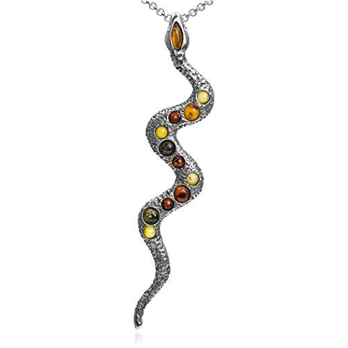 Ámbar Multicolor Plata de Ley Serpiente Colgante Collar Cadena 18'