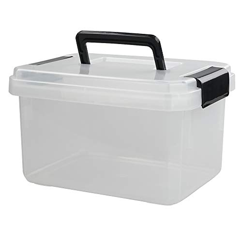 Vababa 8 L Clear Plastic Storage Box with Handle, 1-Pack