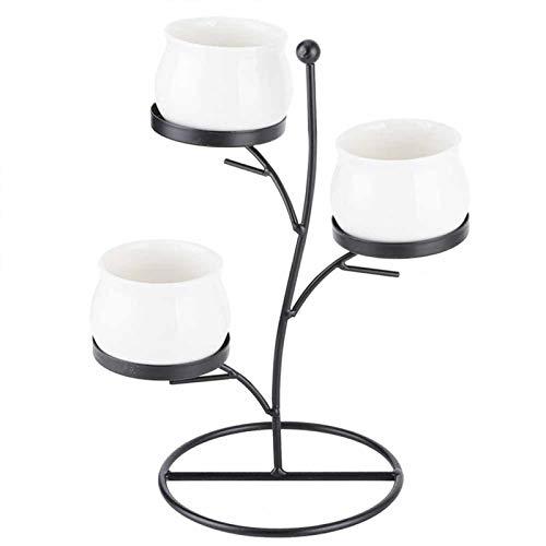 Asixxsix Pot de Fleur Belle Plante en céramique forgée Pot de Fleur Pot de Fleur en céramique Support de Plante pour Plante à Fleurs(RT016-H White Basin + Black Frame)