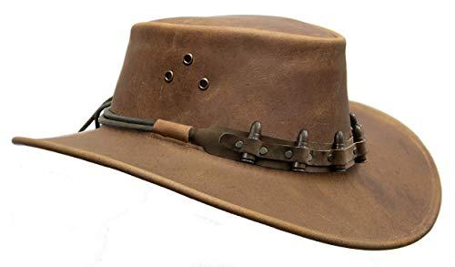 Kakadu Traders Australia Sombrero de vaquero australiano | Sombrero de piel en Tobacco Echuca Bullet con banda de cartuchos. tobacco M