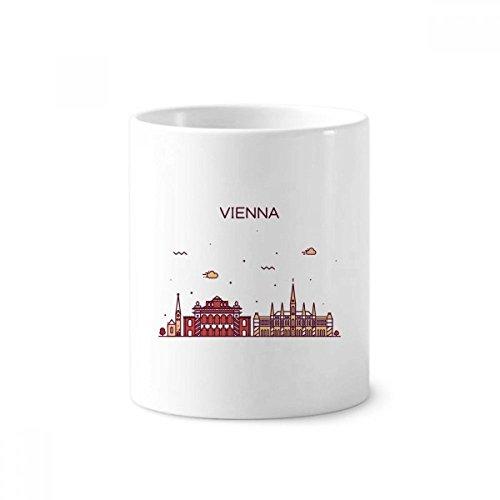 DIYthinker Patrón de Viena Austria Flat Landmark soporte de cerámica taza del cepillo de dientes de la pluma blanca Copa 350ml regalo 9,6 cm de alto x diámetro 8.2cm